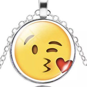 Necklace- NEW- Smiley Face Emoji Blowing Kiss
